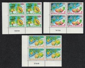 New Caledonia Mango Papaya Mandarin Fruit 3v Corner Blocks of 4 Control 2008