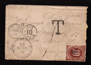 $ US Sc#J19 Postage Due cover 1885 from Italy, contents