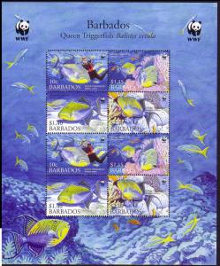 Barbados WWF Queen Triggerfish Diving Sheetlet of 2 sets SG#1290-1293