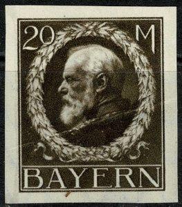 GERMANY BAVARIA 1914-20 KING LUDWIG III 20m DEEP BROWN UNUSED (MH) SG194B POOR