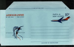 PAPUA NEW GUINEA QEII 1971 10c DARK BLUE & ORANGE AEROGRAMME IN GOOD CONDITION