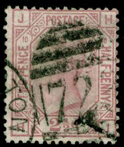 SG141, 2½d rosy mauve PLATE 10, USED. Cat £75. HJ