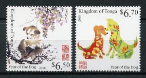 Tonga 2018 MNH Year of Dog 2v Set Dogs Chinese Lunar New Yar Stamps