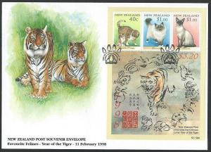 NEW ZEALAND 1998 Year of the Tiger / Cats souvenir sheet FDC...............60644