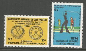 DOMINICAN REPUBLIC 729-730 MNH GOLFERS SET OF 2 1974