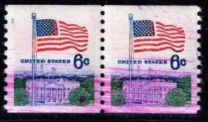 US STAMP #1338A – 1969 6c Huck Press, vert. perf 10 INK ERROR MNH PAIR