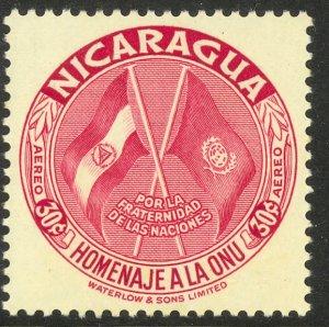 NICARAGUA 1954 30c UNITED NATIONS Airmail Sc C342 MNH