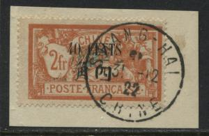 France Offices in China 1922 overprinted 40 cents on 2 francs used