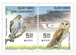 2019  - EUROPA (BIRDS OWL)  - TURKISH CYPRUS - UMM PAIR  STAMPS