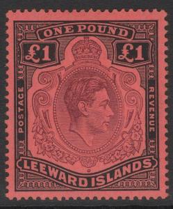 LEEWARD ISLANDS SG114b 1945 £1 BROWN-PURPLE & BLACK/SALMON MTD MINT