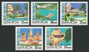 Samoa 553-557,MNH.Michel 456-460. Tourism 1981.Hotels,Harbor,Plane,Piula Pool.