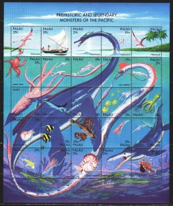 Palau. 1993. Small sheet 633-57. Sea dinosaurs and monsters of the Pacific Oc...
