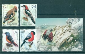 Macedonia - Sc# 312-6. 2004 Birds. Set & Souv. Sheet. MNH $10.75.