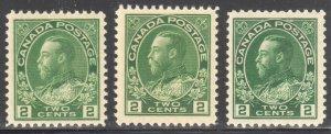 Canada Mint VF NH #107a, e, i Admiral C$300.00