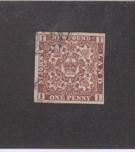 NEWFOUNDLAND (MK6782) # 1 VF-USED 1p 1857 CREST IMPERF /BROWN-VIOLET CV $200