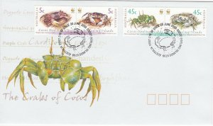 Cocos Islands # 333-334, Crabs of Cocos Islands, First Day Cover