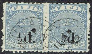 FIJI 1892 VR MONOGRAM 1/2D ON 1D PAIR USED