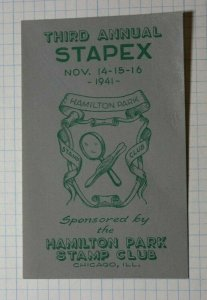 Annual STAPEX 1941 Hamilton Park Stamp Club Chicago IL Philatelic Souvenir Label