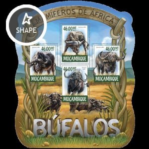 Mozambique MNH S/S Buffaloes Wildlife 2015 4 Stamps