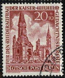 GERMANY BERLIN 1953 WILHELM CHURCH 20pf+10pf RED USED (VFU) SG B108 P.14 SUPERB
