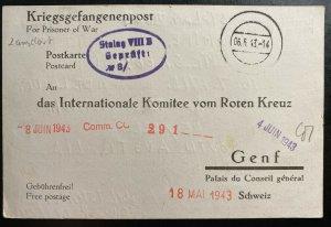 1943 Stalag 8 B Germany Australian Prisoner War POW Postcard Cover to Red Cross