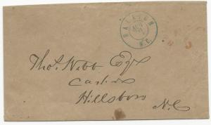 CSA #68xu1 Cover Raleigh, NC Handstamp Paid 5 Provisional 30 Aug 1861 VF