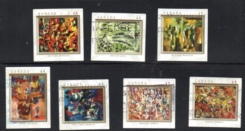 Canada Sc 1743-9 1998 Automatistes Paintings stamp set used