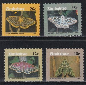 Zimbabwe # 529-532, Moths, NH, 1/2 Cat.