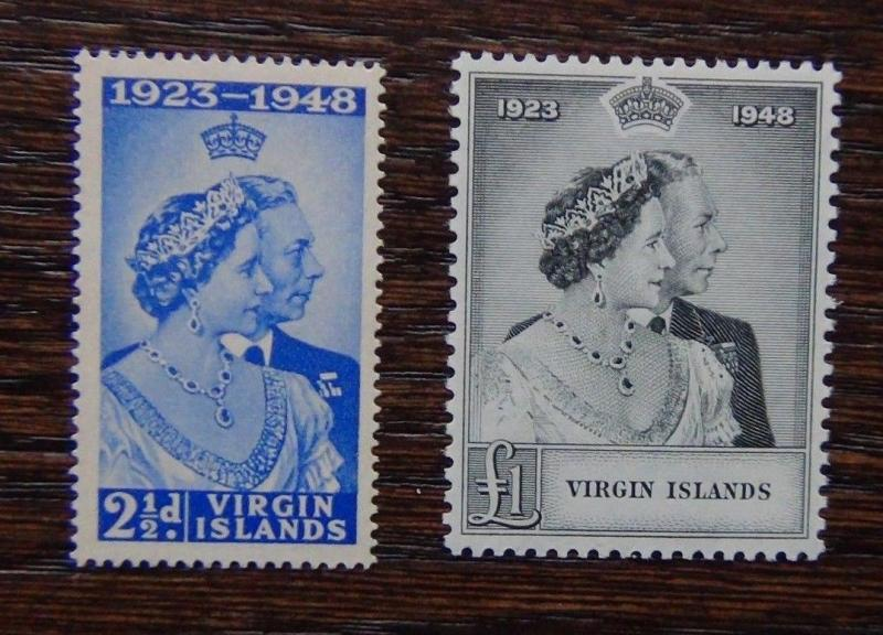 British Virgin Islands 1948 Royal Silver Wedding set MNH