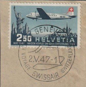 Switzerland Airmail on Piece Scott C42