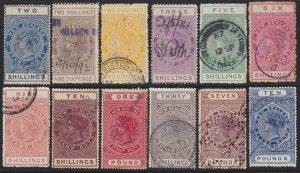 NEW ZEALAND 1880 LONG TYPE STAMP DUTY range to £10 used.....................2159