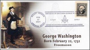 21-018, 2021, George Washington Birthday, Event Cover, Pictorial Postmark, Mason
