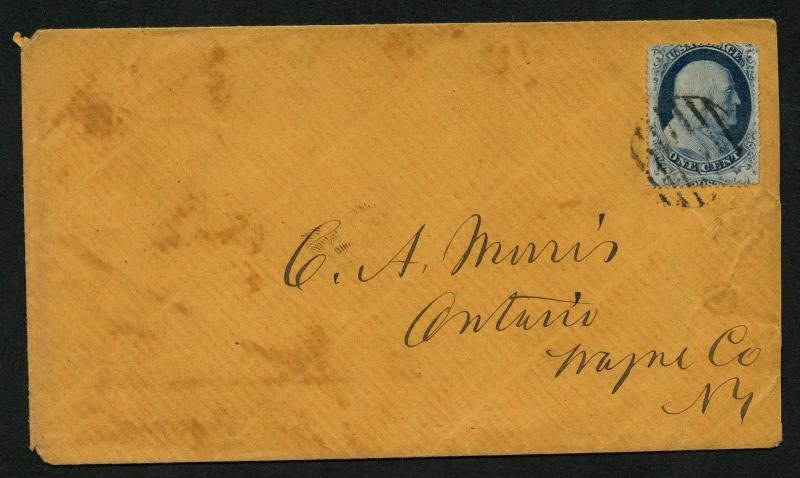 US Scott #20 on Cover, Ontario NY Black Grid Cancel Drop Letter
