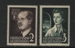 LIECHTENSTEIN 287-288 Hinged, 1955 Prince Franz Joseph II and Princess Gina