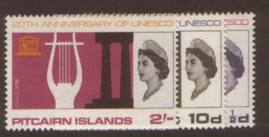 Pitcairn Island UNESCO SG61/63 hinged mint