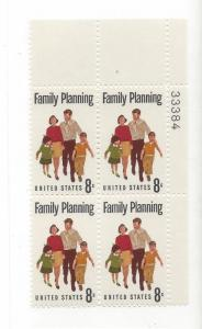 United States, 1455, Family Planning Plate Block of 4, #33384, UR, MNH