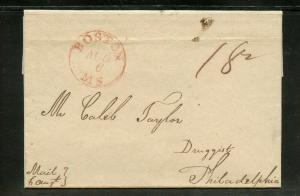 UNITED STATES  1817  STAMPLESS COVER BOSTON TO PHILADELPHIA AS SHOWN