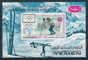 [74999] Yemen Kingdom 1968 Olympic Winter Games Grenoble Imperf. Sheet MNH