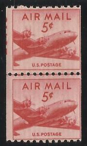 C37 5c Coil Joint Line Pair MNH F/VF Centering With fragment of PL#