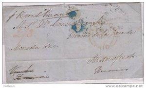 J) 1852 SPAIN, CADIZ TO GUANAJUATO MARITIME INBOUND MAIL, RSM, TRANSIT IN VERACR