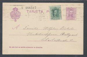 Spain H&G 65 used. 1927 uprated 15c Postal Card, Madrid-Stuttgart, Germany