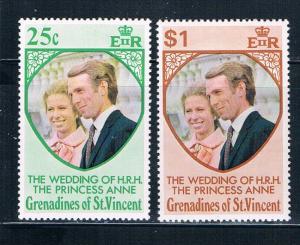 St Vincent - Grenadines 1-2 MNH set Prin Ann wed 1973 (S0906)