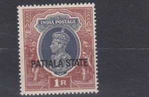PATIALA  1937 - 38  S G  92   1R   GREY & RED BROWN   MH