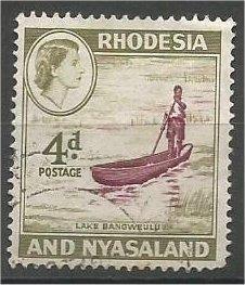 RHODESIA & NYASALAND, 1959, used 4p, Lake Bangweulu, Scott 163