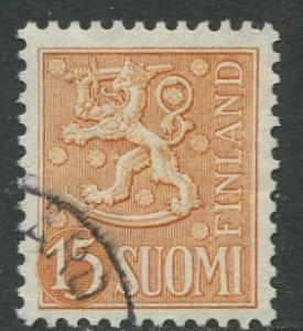 Finland - Scott 318 - Arms of Finland -1954- FU - Single 15m Stamp