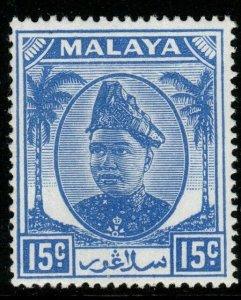 MALAYA SELANGOR SG100 1949 15c ULTRAMARINE MNH