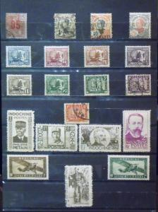 FR INDO CHINA  MH Used  Scott # 60//259, C1, C2, J57-J62   C.V.$ 10.20