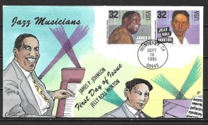 United States 2985, 2986 Jazz Johnson, Morton Collins First Day Cover FDC