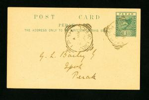 Perak Post Card Early Rare Fist Day w/Stamp extremely Scarce