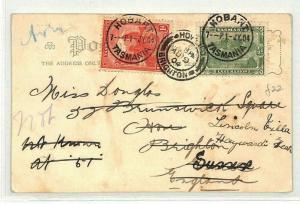 Australia States TASMANIA Hobart GB Brighton Postcard 1904 {samwells} CG182
